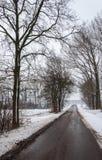 Carretera de asfalto reservada en un paisaje hivernal de la nieve Imagen de archivo
