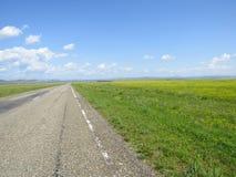 Carretera de asfalto a través de los prados Imagenes de archivo