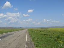 Carretera de asfalto a través de los prados Fotografía de archivo libre de regalías
