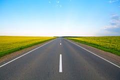 Carretera de campos florecientes y del cielo azul Fotos de archivo