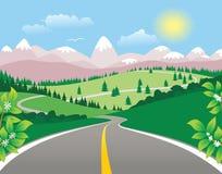 Carretera de la bobina de la montaña Ilustración del Vector