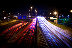 Carretera de la ciudad, exposición larga Foto de archivo