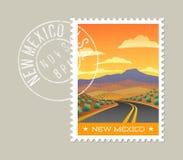 Carretera de New México con paisaje del desierto stock de ilustración