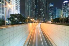 Carretera de Shangai Lujiazui en la noche Fotos de archivo