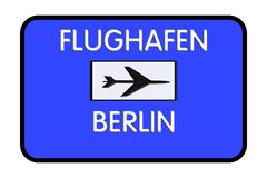 Carretera del aeropuerto de Berlín-Tegel Alemania de la señal de tráfico ilustración del vector