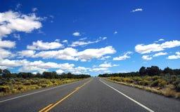 Carretera del desierto con horizonte Fotografía de archivo