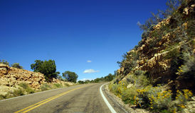 Carretera del desierto con horizonte Imagenes de archivo