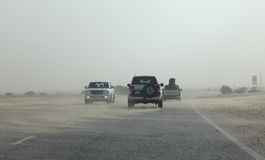 Carretera del desierto en Qatar fotos de archivo libres de regalías