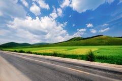 Carretera del prado del cielo azul, yac Shi, Hulun Buir, Inner Mongolia, China fotos de archivo
