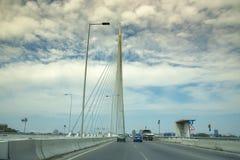 Carretera del puente sobre Ada, Belgrado, Serbia imágenes de archivo libres de regalías