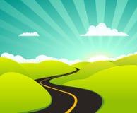Carretera del verano de la historieta Foto de archivo libre de regalías
