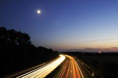 Carretera en la noche, Alemania Imágenes de archivo libres de regalías