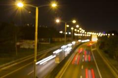 Carretera en la noche (borrosa) Imagenes de archivo