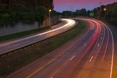 Carretera en la oscuridad Fotografía de archivo libre de regalías