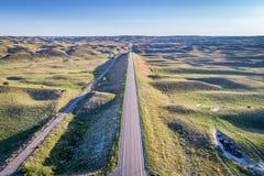 Carretera en Nebraska Sandhills - visión aérea Foto de archivo