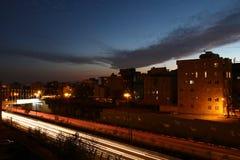 Carretera hermosa en la puesta del sol en Teherán Fotos de archivo libres de regalías