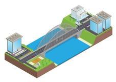Carretera isométrica en el puente sobre el río stock de ilustración