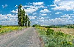Carretera nacional en área ucraniana rural Imagen de archivo
