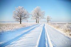 Carretera nacional en helada del invierno Foto de archivo
