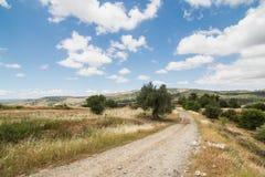 Carretera nacional en la región de Troodos de Chipre Imagen de archivo libre de regalías