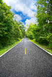Carretera nacional entre el distrito a la ciudad con la falta de definición de movimiento, manera del viaje del viajero a la natu Foto de archivo libre de regalías