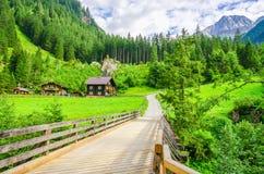 Carretera nacional a las casas alpinas, Zillertal, Austria imagen de archivo