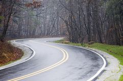Carretera nacional mojada Imagen de archivo