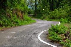 Carretera nacional que toma la curva en bosque Imágenes de archivo libres de regalías