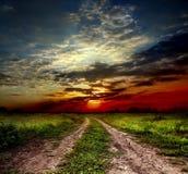 Carretera nacional y puesta del sol imagen de archivo libre de regalías