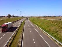 Carretera polaca cerca de Slupsk Imagen de archivo libre de regalías