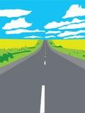 Carretera que apunta para un cartel del horizonte libre illustration