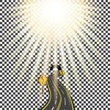 Carretera que retrocede en la distancia en el túnel Camino de doblez Luz del sol brillante Ilustración Fotos de archivo libres de regalías
