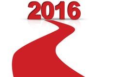 Carretera roja con los números 2016 Imagen de archivo
