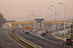 Carretera S17-S12 cerca a Lublin, Polonia Fotografía de archivo libre de regalías