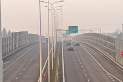Carretera S17-S12 cerca a Lublin, Polonia Imagen de archivo libre de regalías