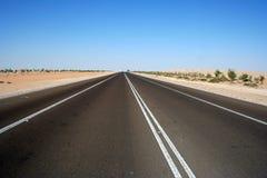 Carretera a través del desierto Imagenes de archivo