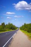 Carretera y árboles verdes Fotos de archivo