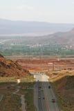 Carretera 191 y entrada del parque nacional de los arcos, Utah Fotos de archivo