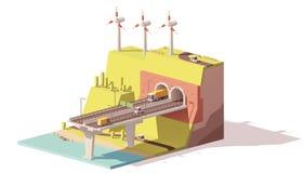 Carretera y parque eólico polivinílicos bajos del vector ilustración del vector