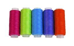Carretes con los hilos coloridos Fotografía de archivo