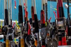 Carretes de la pesca en el listo Imagenes de archivo