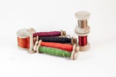 Carretes de madera del hilo Imagen de archivo libre de regalías
