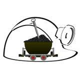Carretilla con el carbón Foto de archivo libre de regalías