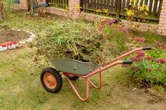 Carretilla con la basura del jardín en un césped Foto de archivo libre de regalías
