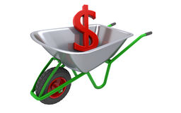 Carretilla con la muestra de dólar Imagen de archivo libre de regalías