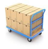 Carretilla con las cajas Imágenes de archivo libres de regalías