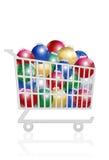 Carretilla de la compra de la venta de las bolas de la Navidad Foto de archivo