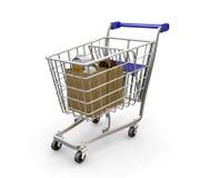 Carretilla de las compras Imagen de archivo