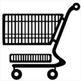 Carretilla de las compras aislada en el fondo blanco Fotografía de archivo libre de regalías