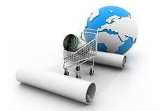 Carretilla de las compras con el dinero Foto de archivo libre de regalías